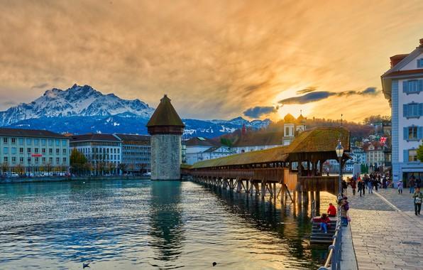 Picture sunset, mountains, bridge, the city, lake, home, Switzerland, promenade, Lucerne