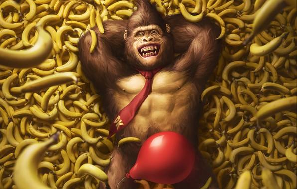 Picture The game, Ball, Bananas, Art, Art, Nintendo, Illustration, Donkey Kong, Characters, Monkey, Banana, Balloon, Gorilla, ...