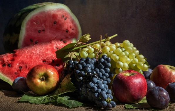 Picture berries, apples, watermelon, grapes, fruit, still life, plum