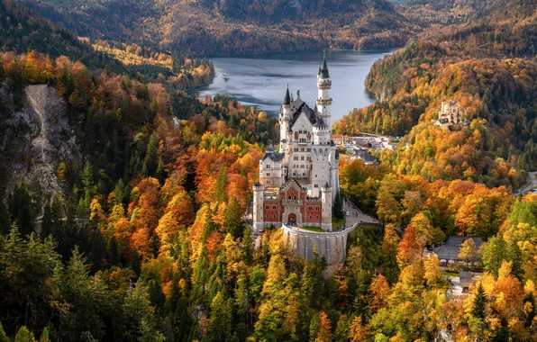 Picture autumn, forest, lake, castle, Germany, Bayern, Germany, Bavaria, Neuschwanstein Castle, Neuschwanstein Castle, Schwangau, Schwangau, Schwansee, …