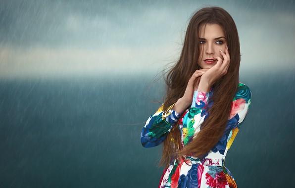 Picture girl, rain, portrait, long hair, Renat Khismatulin