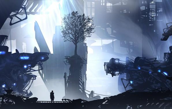 Picture city, art, figure, tree, man, artist, digital art, spaceships, artwork, futuristic, wreckage, TacoSauceNinja