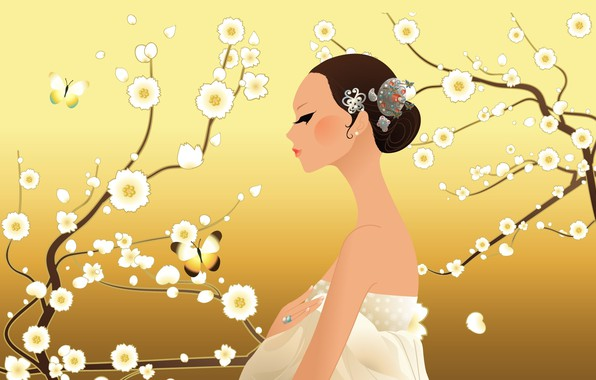 Picture decoration, butterfly, beauty, butterfly, beauty, girl in white, jewelry, flowering trees, girl in white, цветущие …