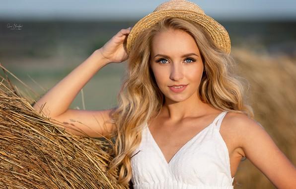 Picture look, girl, face, hair, hand, portrait, hay, hat, Christina, Anna Shuvalova