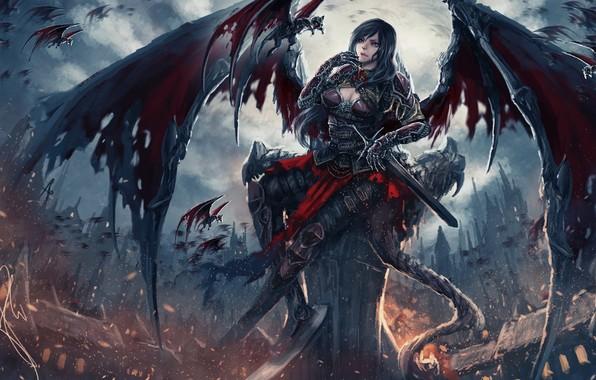 Picture dark, sword, fantasy, Dark Angel, armor, weapon, wings, blue eyes, angel, castle, artwork, warrior, fantasy …