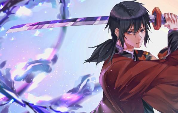 Picture sword, weapon, anime, blue eyes, katana, samurai, artwork, warrior, kimono, Kimetsu no Yaiba, Giyu Tomioka