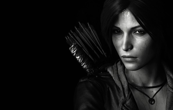 Picture lara croft, tomb raider, face, black and white, look, bow, arrows, dark hair, jacket, sight