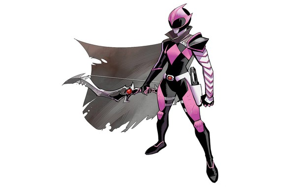Picture background, bow, art, armor, cloak, pink, art, ranger, evil, power rangers, Kimberly Hart, Ranger Slayer