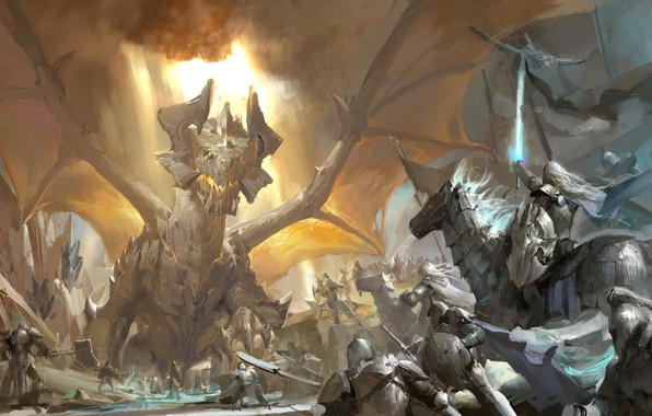 Picture sword, armor, rider, battle, the battle, knights, cruise, banner, glowing, fire-breathing dragon, Dragon quest