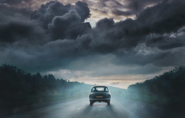 Picture storm, the way, photo, art, art, old car, the devil's chariot