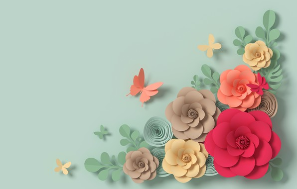 Picture flowers, rendering, pattern, colorful, butterfly, flowers, composition, rendering, paper, composition, floral