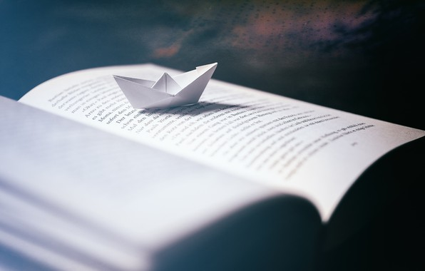 Picture macro, book, paper boat