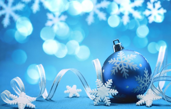 Picture snowflakes, background, holiday, New Year, tape, picture, bokeh, Christmas toy, blue ball