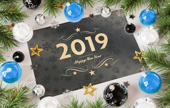 Picture holiday, the inscription, balls, toys, New year, decoration, Happy New Year, decor, 2019