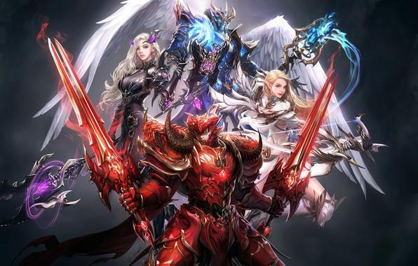 Picture anime, fantasy, art, heroes, squad, seunghee lee, MU origin2