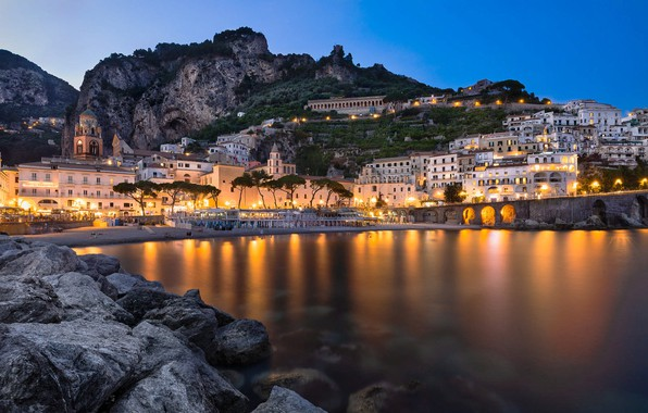 Picture mountains, the city, rocks, building, home, the evening, lighting, Italy, Amalfi, Frank Fischbach