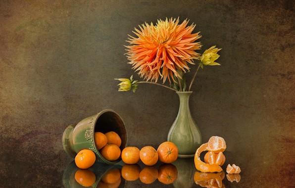 Picture fantasy, still life, peony, tangerines, Oranges