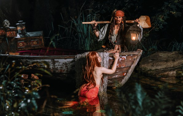 Picture girl, boat, mermaid, fantasy, lantern, male, Jack Sparrow, paddle, Александра Савенкова