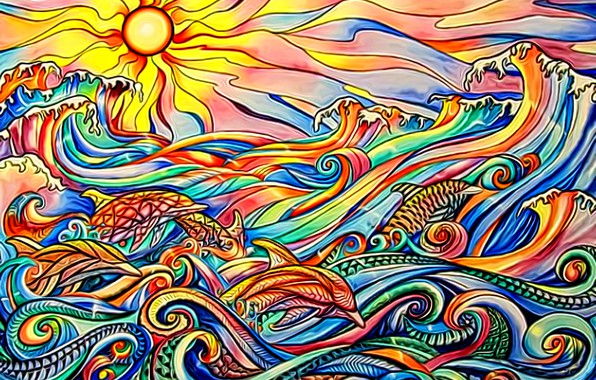 Picture sea, wave, the sky, the sun, sunset, abstraction, dolphins, play of colors, the stained glass …