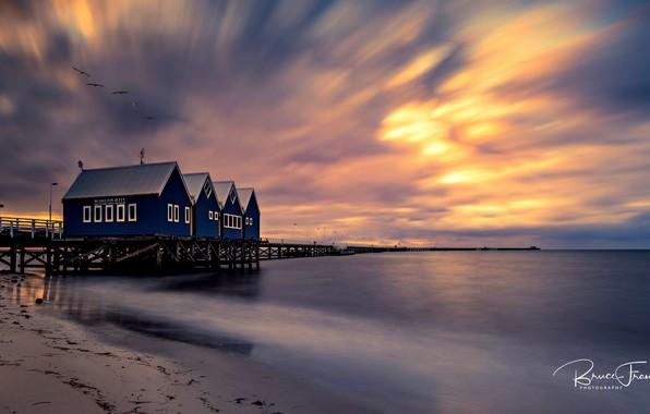 Picture sea, beach, the sky, sunset, birds, coast, horizon, pierce, houses, Australia, Busselton, Bruce Fraser