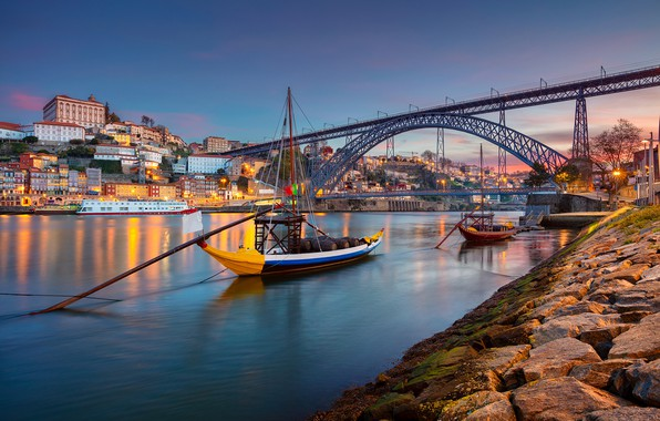 Picture bridge, river, boats, Portugal, Portugal, Vila Nova de Gaia, Porto, Port, the river Duero, Vila ...