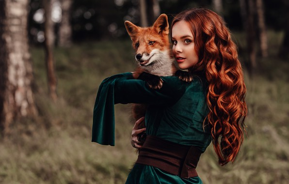 Picture look, girl, mood, Fox, red, friends, redhead, long hair, curls, Natalia Andreeva, by Альбина Пономарёва