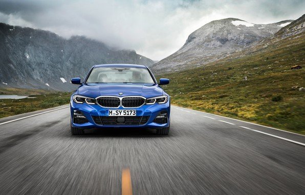 Picture road, asphalt, mountains, markup, lights, BMW, 3-series, M Sport, G20