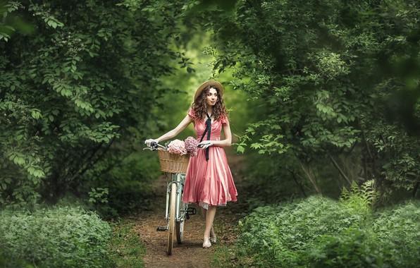 Picture girl, flowers, nature, bike, mood, basket, dress, gloves, hat, walk, curls, path, hydrangea, Anastasia Barmina, …