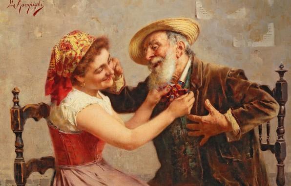 Picture 1944, Italian painter, Bow tie, Italian painter, oil on canvas, Eugenio Zampighi, Eugenio Zampighi, The …