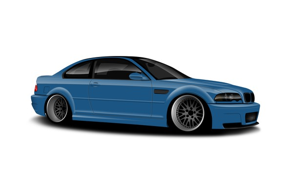 Picture BMW, Blue, White, E46, Background, Drawing