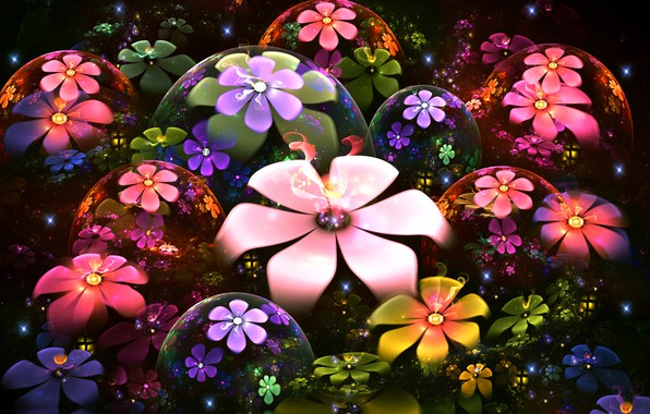 Picture flowers, abstraction, fireflies, bubbles, rendering, sparks, black background, floral fantasy