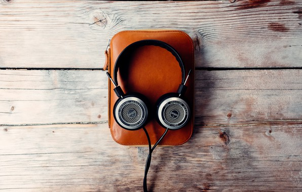 Picture music, headphones, bag, wooden background
