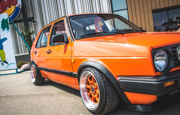 Picture Volkswagen, Machine, Orange, Machine, Car, Car, Cars, Golf, Cars, Volkswagen, Golf