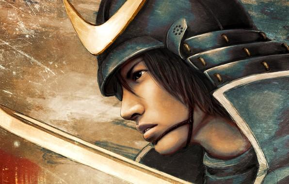 Picture sword, samurai, helmet, guy, Sengoku Basara, The Era Of Unrest, DAHLIEKA