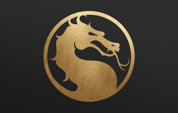 Picture logo, gold, dragon, metall, Mortal Kombat 11