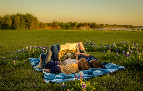 Picture field, summer, trees, sunset, flowers, nature, children, stay, glade, girls, tale, knowledge, the evening, boy, …