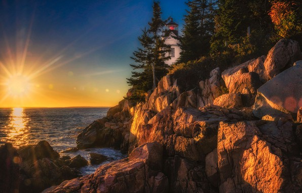 Picture sunset, the ocean, rocks, lighthouse, Maine, Man, Acadia National Park, Acadia national Park, Bass Harbor …