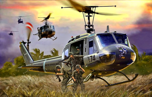 Picture M16, Helicopter, US Army, Landing, M60, UH-1D, Soldiers, The Vietnam war