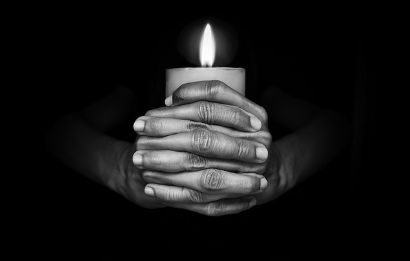 Picture darkness, flame, candle, hands