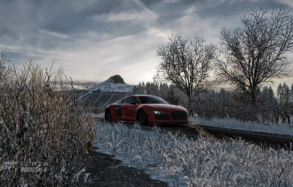 Picture audi, red, road, trees, field, winter, mountain, racing, vorsteiner, horizon, stance, forza, rocket bunny, forza …
