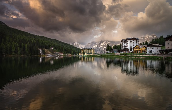 Picture landscape, mountains, nature, lake, reflection, dawn, morning, village, Italy, resort, The Dolomites, Misurina, Misurina