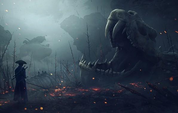 Picture skull, skeleton, Vladimir Manyukhin, Here live dragons, Here live dragons