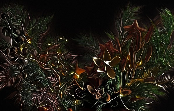 Picture flowers, branches, abstraction, rendering, fantasy, black background, picture, fabulous night, bizarre plants