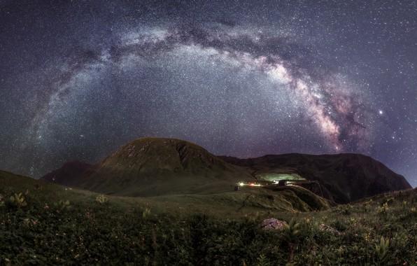 Picture landscape, mountains, night, nature, stars, the milky way, Sochi, Krasnaya Polyana, Serpski cornice