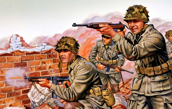 Picture Soldiers, USA, The Second World War, Carabiner, Submachine gun Thompson, M1A1