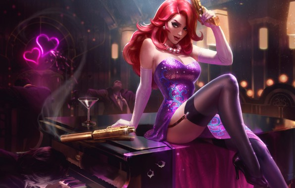 Picture Gun, Dress, Stockings, Art, Beauty, Splash, League of Legends, Agent, LoL, Redhead, Artwork, League Of …
