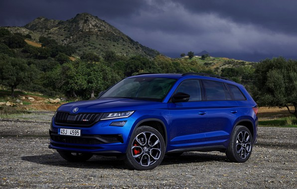 Picture 2018, crossover, SUV, Skoda, Skoda, 2019, Kodiaq RS, mountains in the background