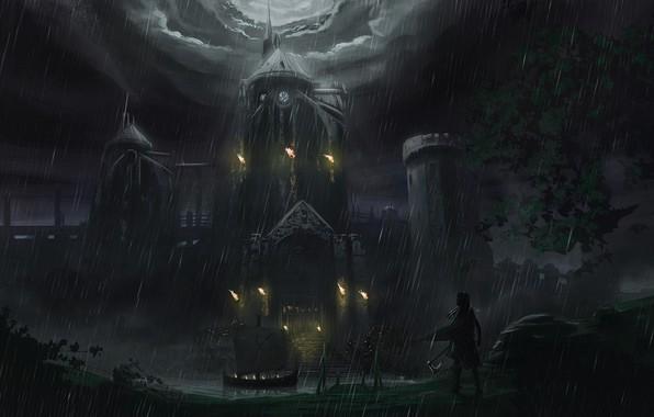 Picture night, rain, fire, ship, fantasy, art, torch, fortress