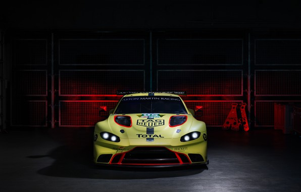 Picture Aston Martin, Vantage, racing car, front view, 2018, GTE