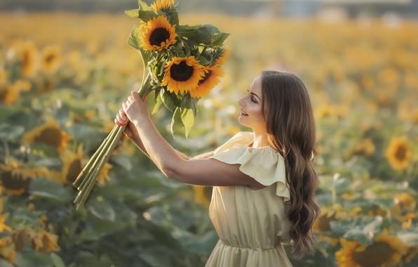 Picture field, summer, girl, joy, sunflowers, nature, smile, bouquet, dress, Rus